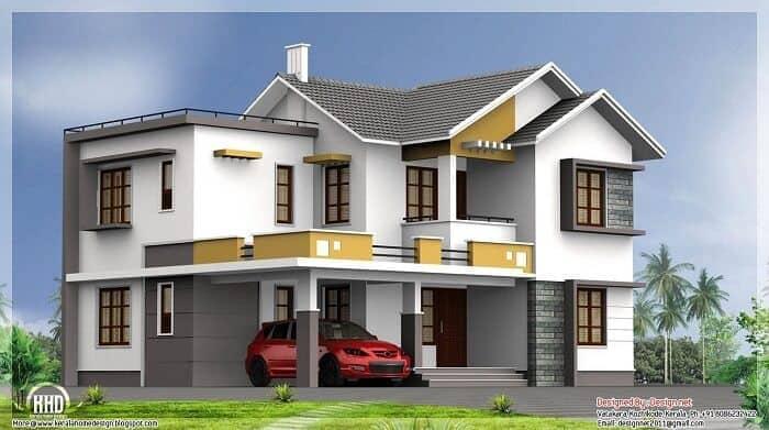 gray, white on green grass colour house