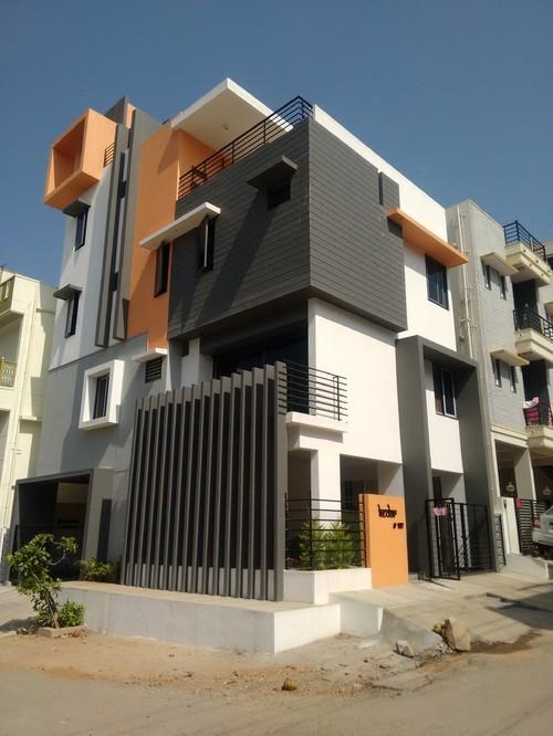 gray white orange colour house