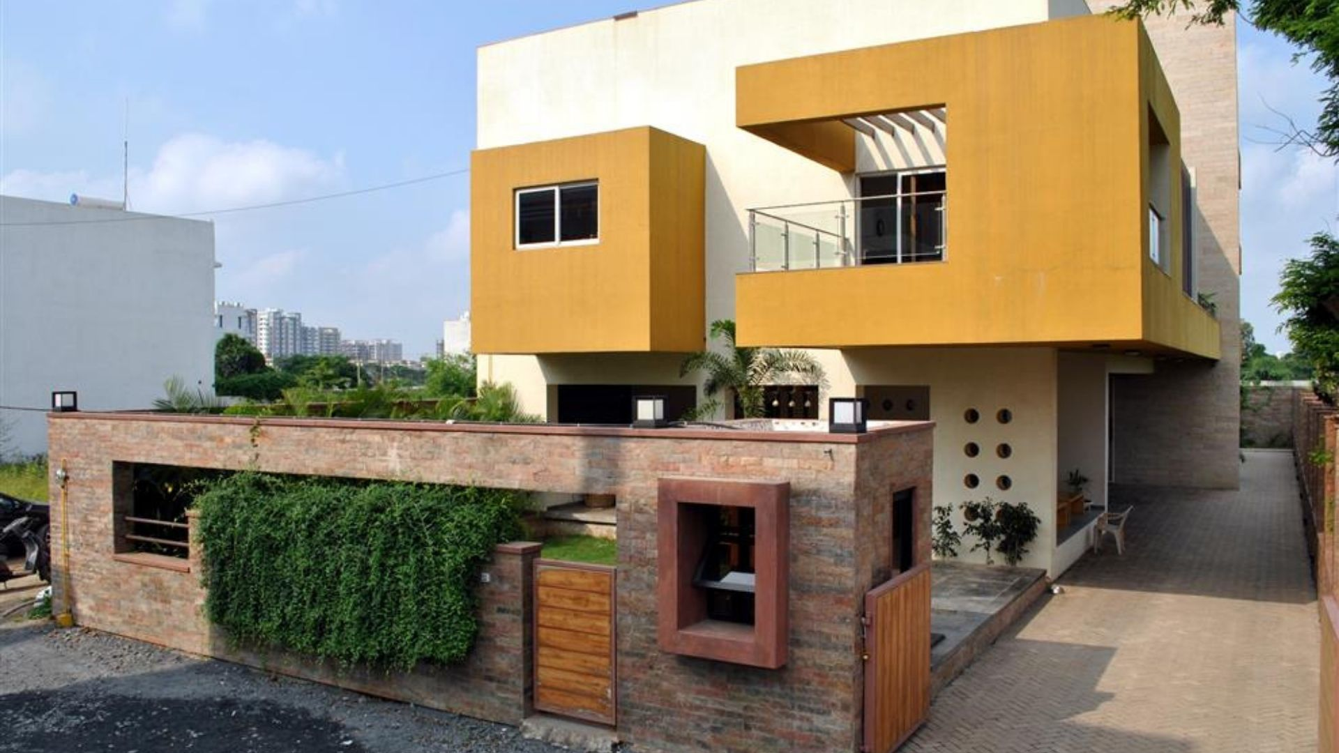 yellow and cream colour house