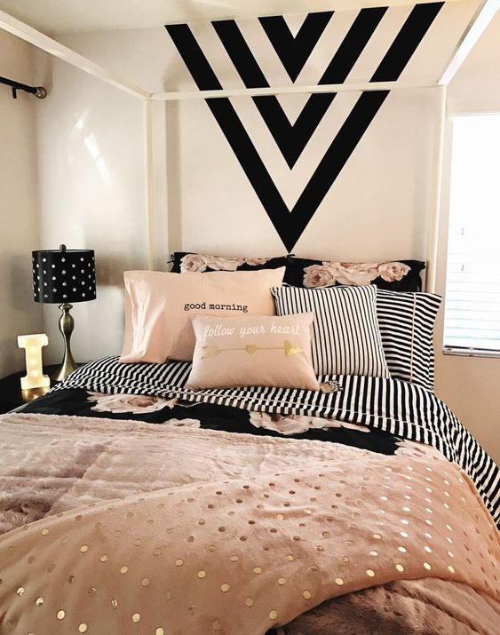 Peach and black bedroom