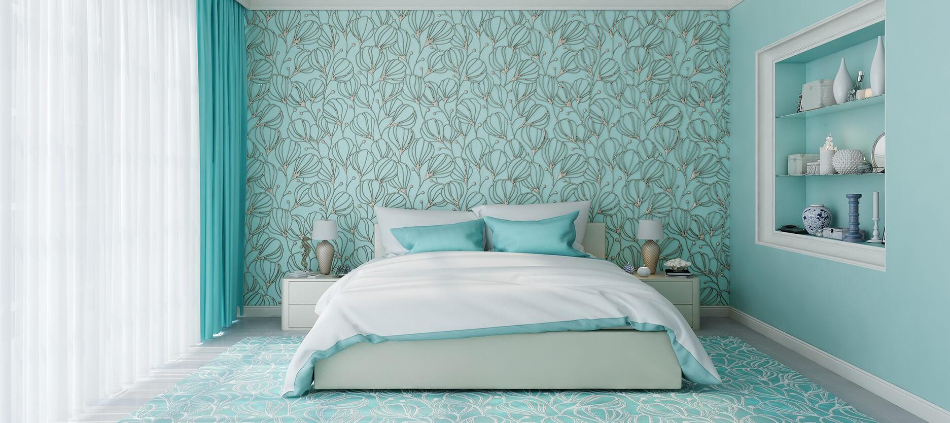 aquamarine and white bedroom colour combination