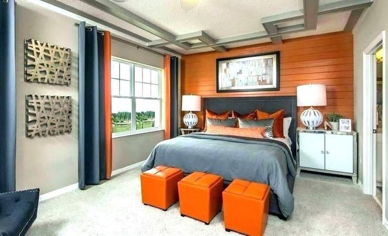 burnt orange and charcoal colour combination for bedroom