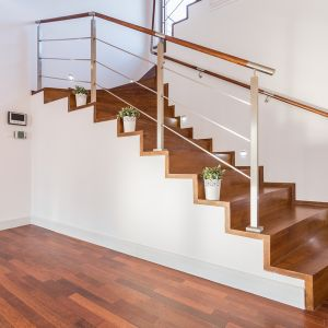wooden stairs in luxury home