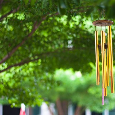 a 5-rod metal wind chime representing five elements of nature