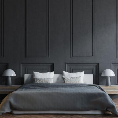 black bedroom interior