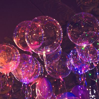 Balloon lights are the hit trend for terrace birthday decoration