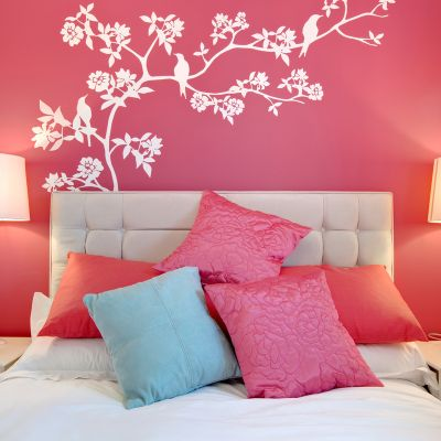 Bright themed pink bedroom wall
