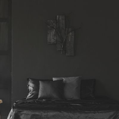 Jet black bedroom interior
