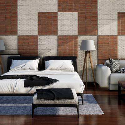 Rustic geometric patterned bedroom