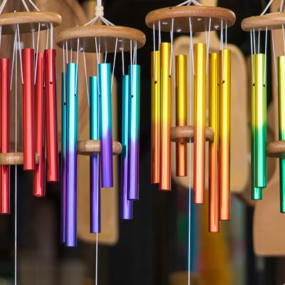 beautiful wind chimes with a varied number of rods
