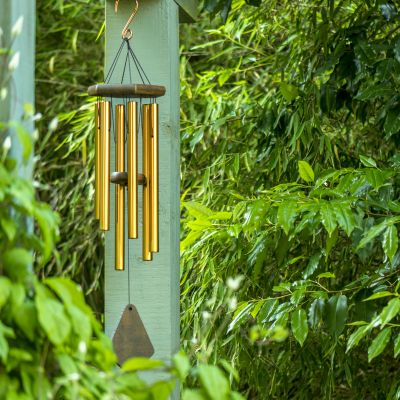 Beautiful wind chime hung in a garden