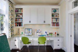 Bedroom Study Table With Bookshelf Design