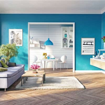 Rooms with cool hues.